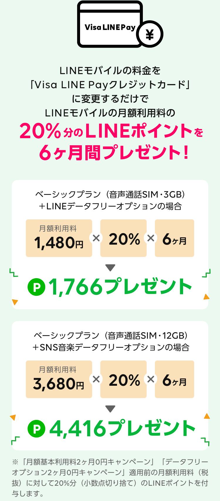 LINEモバイルの料金を 「Visa LINE Payクレジットカード」 でお支払いするだけで LINEモバイルの月額利用料の 20%分のLINEポイントを 6ヶ月間プレゼント!