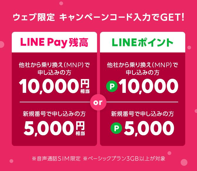ウェブサイトからのキャンペーンコード入力でLINEポイントかLINE Pay残高のどちらか1つをプレゼント!