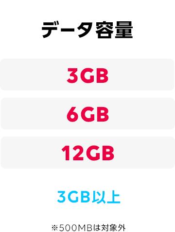 データ容量:3GB以上