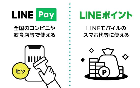 LINE Pay:全国のコンビニや飲食店等で使える。LINEポイント:LINEモバイルのスマホ代等に使える
