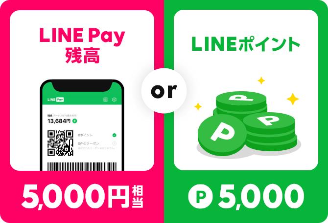 LINE Pay残高5,000円相当 or LINEポイント P5,000