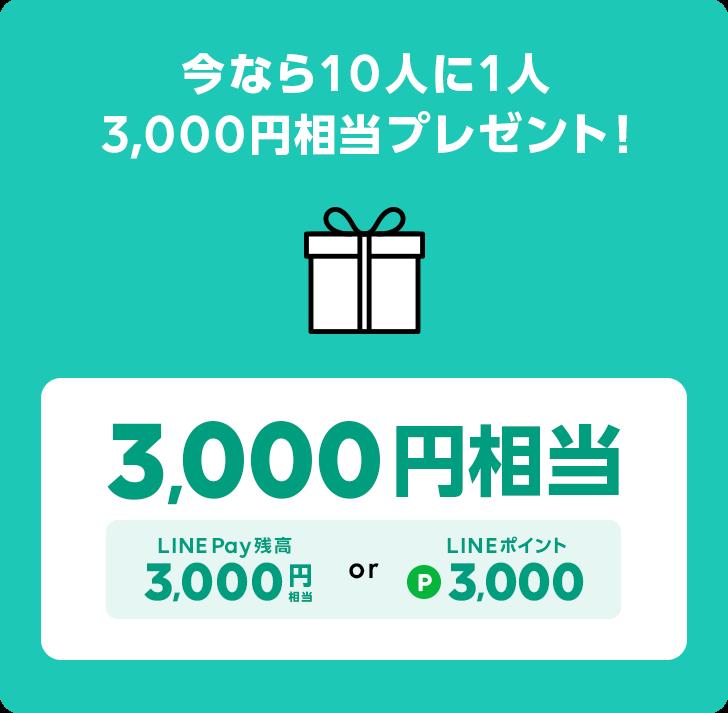 さらに抽選で10人に1人3,000円相当プレゼント!LINE Pay残高3,000円相当 or LINEポイント3,000ポイント。