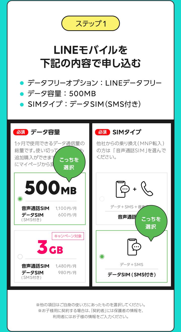 ステップ1LINEモバイルを下記の内容で申し込む  データフリーオプション:LINEデータフリー データ容量:500MB SIMタイプ:データSIM(SMS付き)