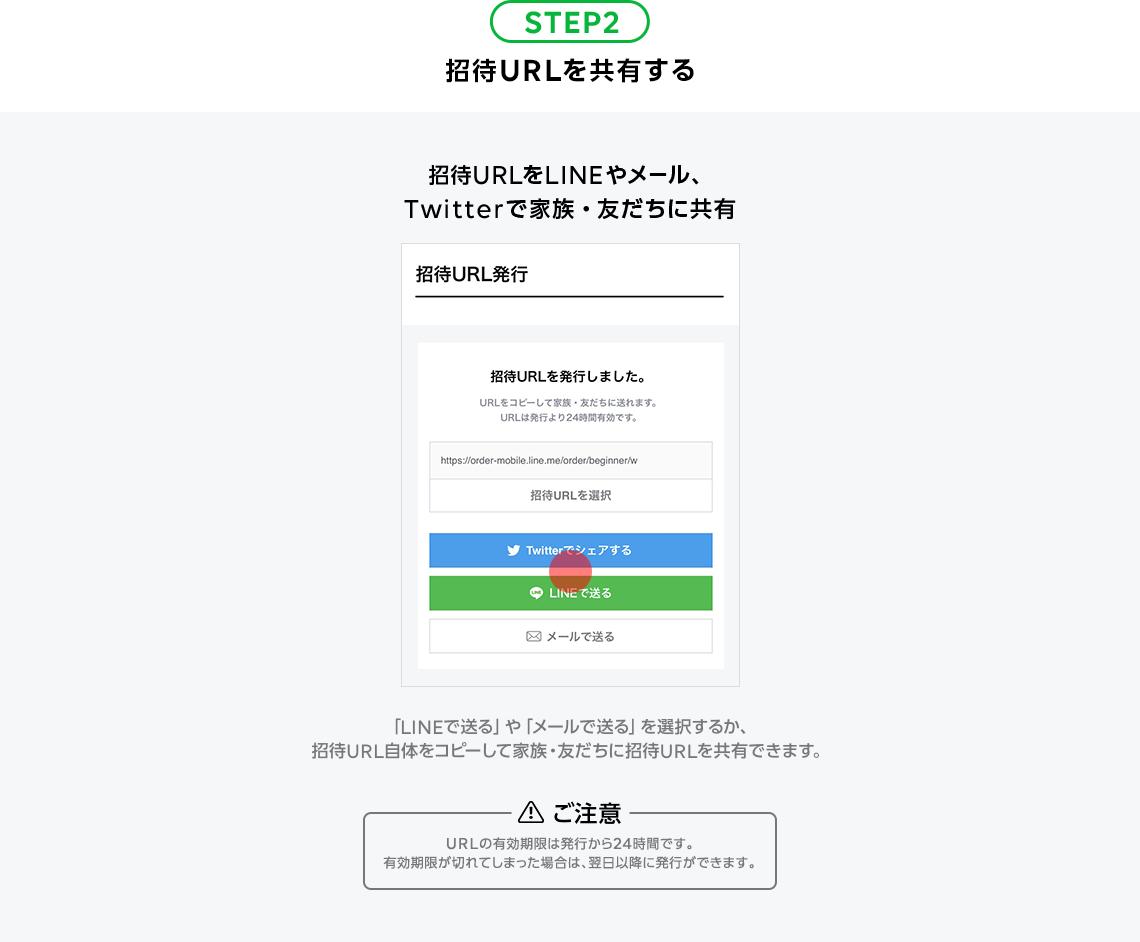 STEP2:招待URLを共有する