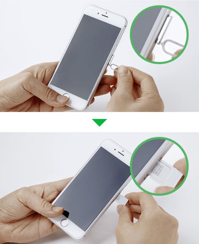 iPhoneにSIMカードを挿入する