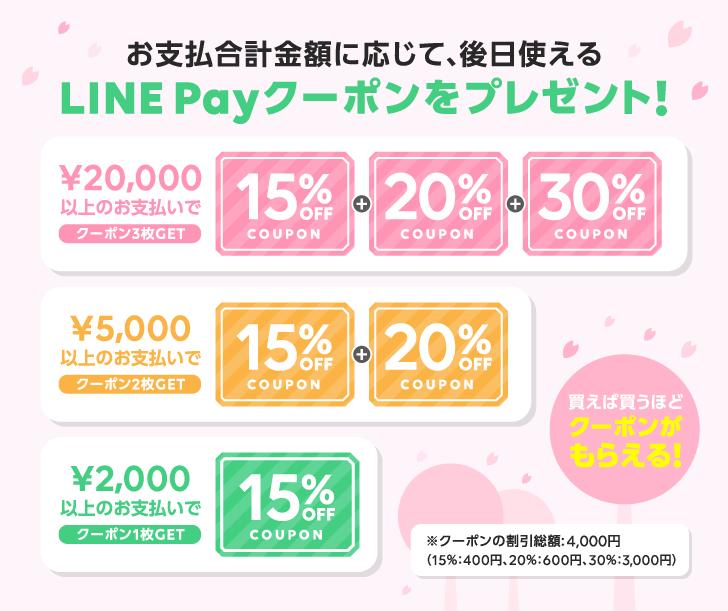 お支払合計金額に応じて後日使えるLINE Payクーポンをプレゼント